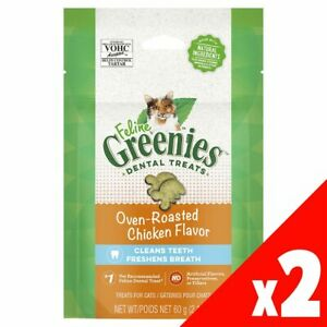 Feline Dental Treats Oven Roast Chicken 60g x 2 Greenies Cat Treat Food Healthy