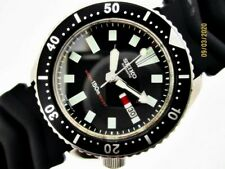 84' SEIKO 6309 7290 SS MENS DATE DIVE SN #4n1512 AUTOMATIC BLACK INSERT WATCH $1