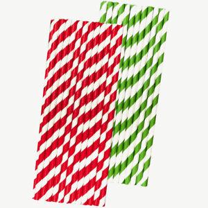 Christmas Stripe Paper Straws - Red White Green - 50 Pack