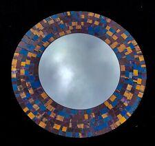 Miroir rond mosaïque Multicolore Violet Or Bleu Sarcelle 40 cms