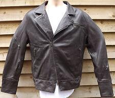 """Véritable Daytona en cuir marron style motard veste-Large / 40 """""""