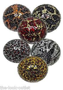 NEW RANGE-Mosaic Glass Balls(Various Colours) - MEDIUM (10.5CM)