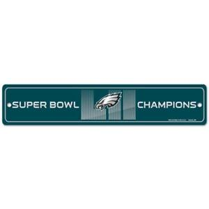 """Philadelphia Eagles Super Bowl LII Champion 3.75"""" by 19"""" Street Sign Made in USA"""