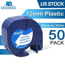 50pk Compatible Dymo Letratag Refill 91331 12mm White Plastic Label Tape Lt 100h