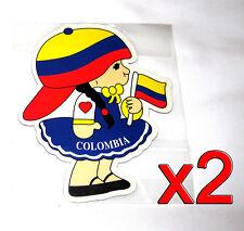 2 pack Colombian Flag Girl Magnets Fridge/Car/Locker UV protected Imán Bandera
