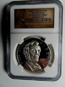 2009 P LINCOLN BICENTENNIAL COMMEMORATIVE SILVER $ NGC GRADED PF 70 ULTRA CAMEO
