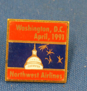 Vintage 1991 Washington DC Northwest Airlines Pin Award