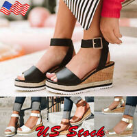 US Women Platform Sandals Buckle Strap Casual Open Toe Fish Mouth Wedge Shoes