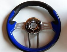 Golf Cart Steering Wheel & ADAPTER, Color Blue, Fit Club Car, EZ-GO, Yamaha