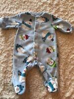 Carters Boys Blue Snowman Fleece Long Sleeve Pajamas Newborn