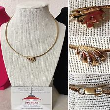 Vintage Sterling Silver Gold Tone Snake Choker Necklace Diamond Accent Pendant