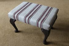 Burgundy / Browns striped Foot Stool