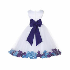 CUSTOMIZE WHITE FLOWER GIRL DRESS ROSE PETAL PARTY PAGEANT 6-9M 2 4 6 8 10 12 14