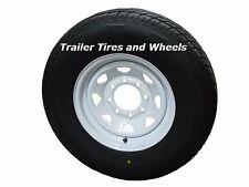"""235/80R16 LRE RN Radial Trailer Tire on 16"""" 8 Lug White Spoke Trailer Wheel"""