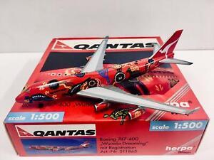 """Herpa Wings Qantas Boeing 747-400 """"Wunala Dreaming"""" 1:500 VH-OJB 511865"""