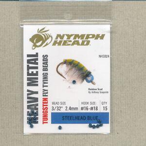 "Nymph Head tungsten beads - steelhead blue - 3/32"" - 2.4mm - #16-18 (15) NHSB24"