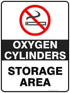 Prohibition Signs -  OXYGEN CYLINDERS STORAGE AREA