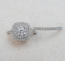 Round Cut 2Ct Diamond Engagement Wedding Band Bridal Ring Sets 14K White Gold Fn