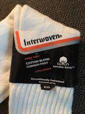 "Vtg Tube Socks 22"" White Cotton Blend Cushion Foot 9-16 Interwoven Made in USA"