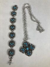 AVON SILVER TONE AND TURQUOISE NECKLACE AND BRACELET SET.  NECKLACE APPRX. 22""