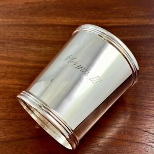 AMERICAN COIN SILVER BEAKER / MINT JULEP CUP REEDED FOOT & RIM