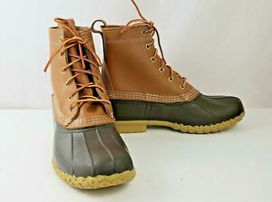 LL Bean Bean Boot Women sz 9W Brown Tan Leather Rain & Waterproof Duck Boot USA