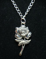 """Silver Rhodium Chain 18"""" Necklace Rose Bud 3D 2"""" long Pendant Flower pewter love"""