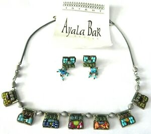 AYALA BAR Crystal Stone Beaded Necklace Earring Set W/ Original Card!
