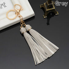 DOUBLE TASSEL BAG CHARM KEYRING GOLD GREY (2)