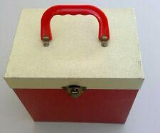 Vintage 45 rpm Record Case Metal Red & Cream