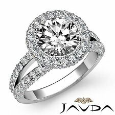 Halo Pave Bezel Set Round Diamond Engagement Ring GIA F SI1 14k White Gold 2.4ct