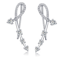 925 Sterling Silver Ear Crawler Cuff Charmer Climber Earrings Cubic Zirconia