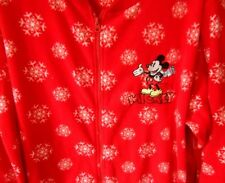 Disney's Mickey Mouse Footed Pajamas Winter Snow Red White 1 PC  NEW L LAST ONE