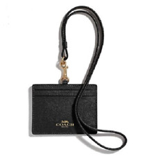 COACH ID Lanyard F67652 in Crossgrain Leather (Midnight)