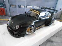 PORSCHE 911 993 RSR Widebody RWB Rauh Welt matt schwarz Autoart 78154 NEU 1:18