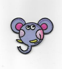 Elephant Face with Beaded Eyes Embroidered Iron On Applique Patch 156875
