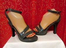 """NEW RAMPAGE MARILYN GRAY FAUX PATENT LEATHER STRAPPY 4.25"""" HEELS/PUMPS SZ 6.5"""