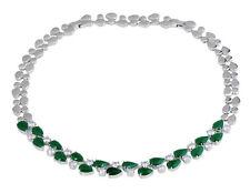 14k White Gold GF Necklace made w/ Swarovski Crystal Emerald Green & Clear Stone