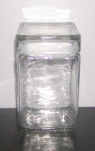 CLEAR*GLASS*SQUARE*RECTANGULAR*KITCHEN*CANISTER*FOOD*STORAGE*JAR*SEAL*LID**NWOT