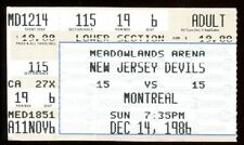 Ticket Hockey New Jersey Devils 1986 12/14 Montreal Canadiens Playoffs
