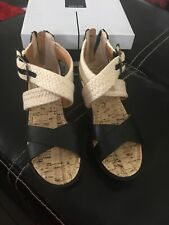 Dolce Vita Sandals Wedge Black & Ivory Girls 1 Nib $108