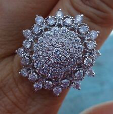 20ct Large diamond cluster Dinner ring 14k WG halo
