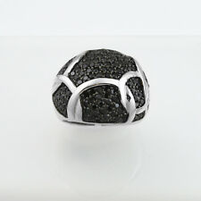 Black Cubic Zirconia Wide Ring, Sterling Silver