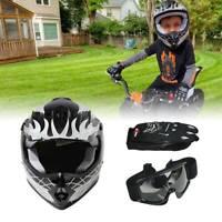 DOT Youth Kids Offroad Motocross Dirt Bike ATV Motorcycle Helmet Gloves Goggles