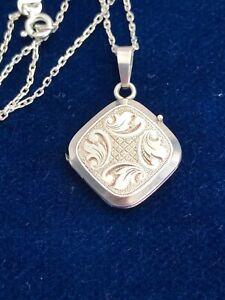 "Vintage 925 Sterling Silver Square Photo Locket Pendant 18"" Chain Necklace (D2K)"