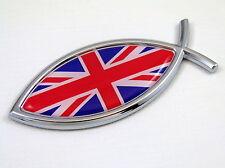 Great Britain British Jesus Fish Flag Car Chrome Emblem Decal 3D Sticker England
