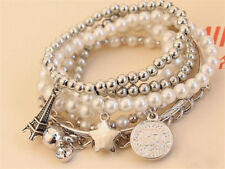 Elegant Womens Unique Gold Silver Pearl Multilayer Pendant Bracelet Jewelry Gift