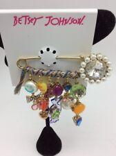 $55 Betsey Johnson multi charm safety Pin Brooch Jb8