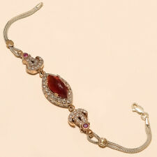 Silver Women Wedding Fine Jewelry Gift Mexican Red Apatite Bracelet 925 Sterling