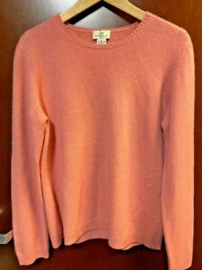 Brooks Brothers 346 Womens Classic 100% Cashmere Knit Crewneck Sweater Pink XL